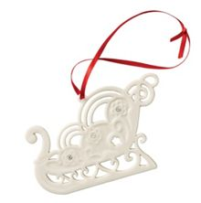 Belleek Living Sleigh with gems christmas ornament
