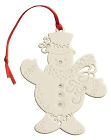 Belleek Living Snowman with gems christmas ornament