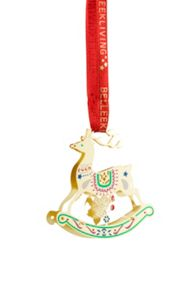 Belleek Living Golden Reindeer Hanging Ornament