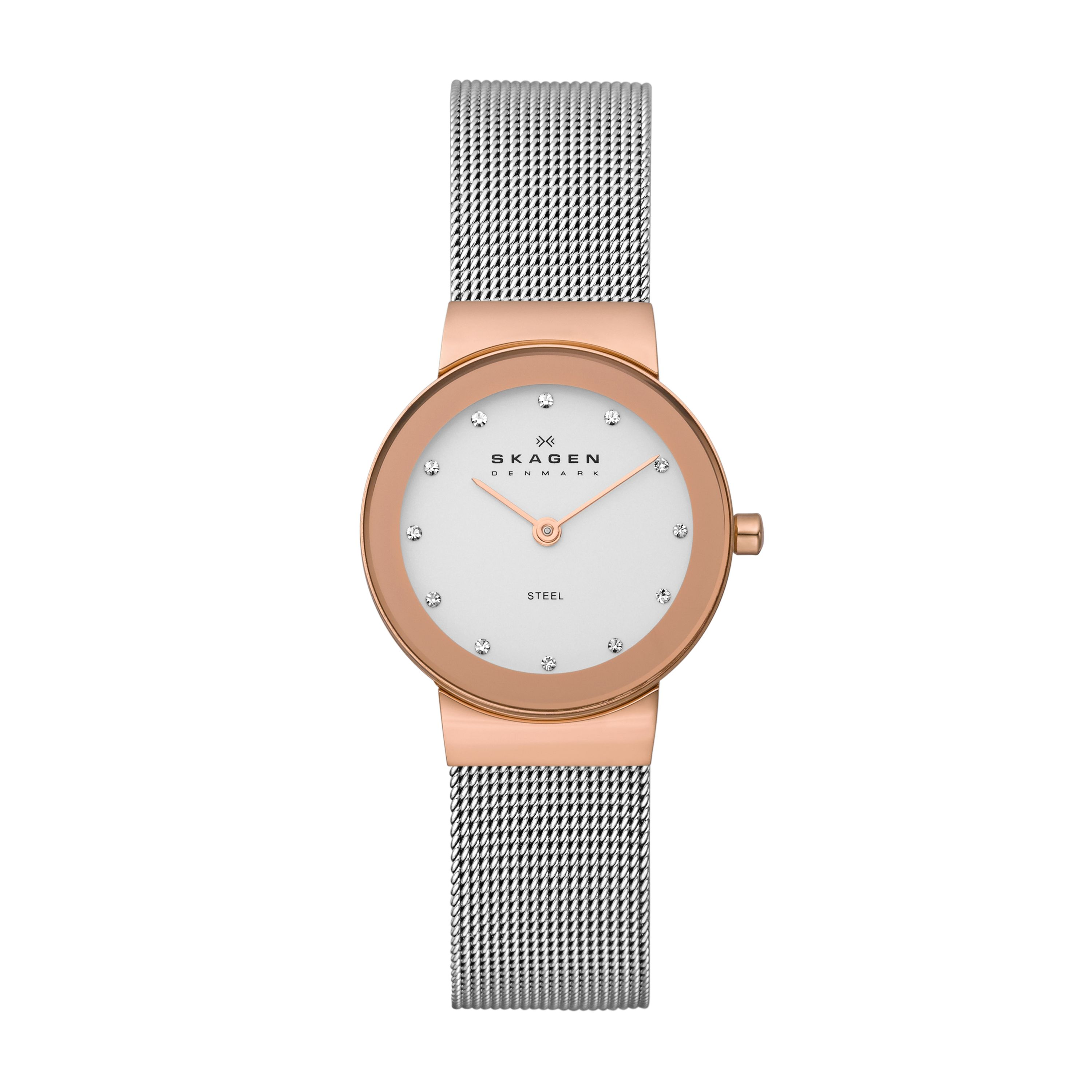 358SRSC Classic Silver and Rose Ladies Mesh Watch
