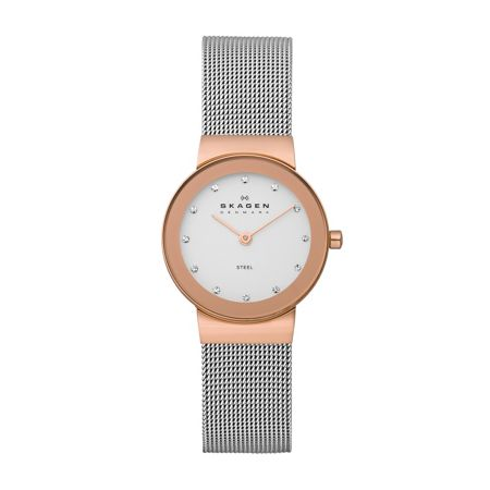 Skagen 358SRSC Classic Silver and Rose Ladies Mesh Watch