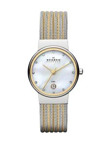 Skagen 355SSGS Ancher Silver and Gold Ladies Mesh Watch