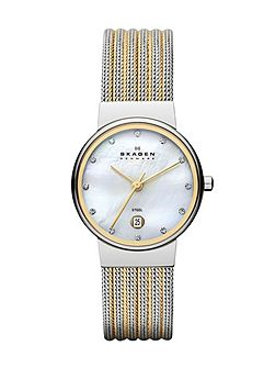 Skagen 355SSGS Ancher Silver and Gold Ladies Mesh