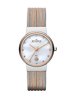 Skagen 355SSRS Ancher Silver and Rose Ladies Mesh