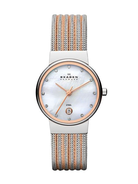 Skagen 355SSRS Ancher Silver and Rose Ladies Mesh Watch