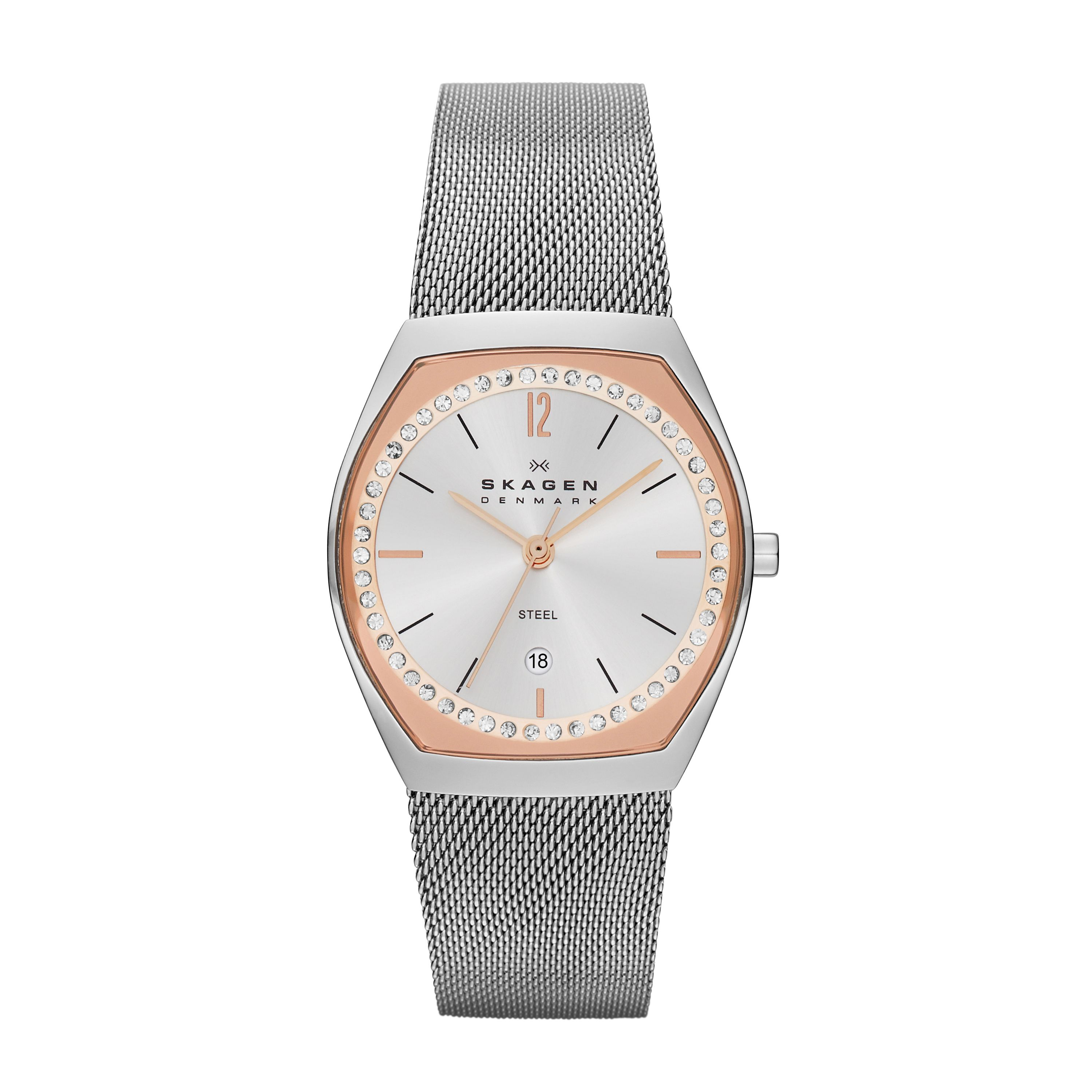 SKW2051 Classic Silver and Rose Ladies Mesh Watch