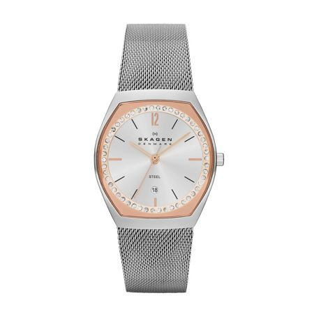 Skagen SKW2051 Classic Silver and Rose Ladies Mesh Watch