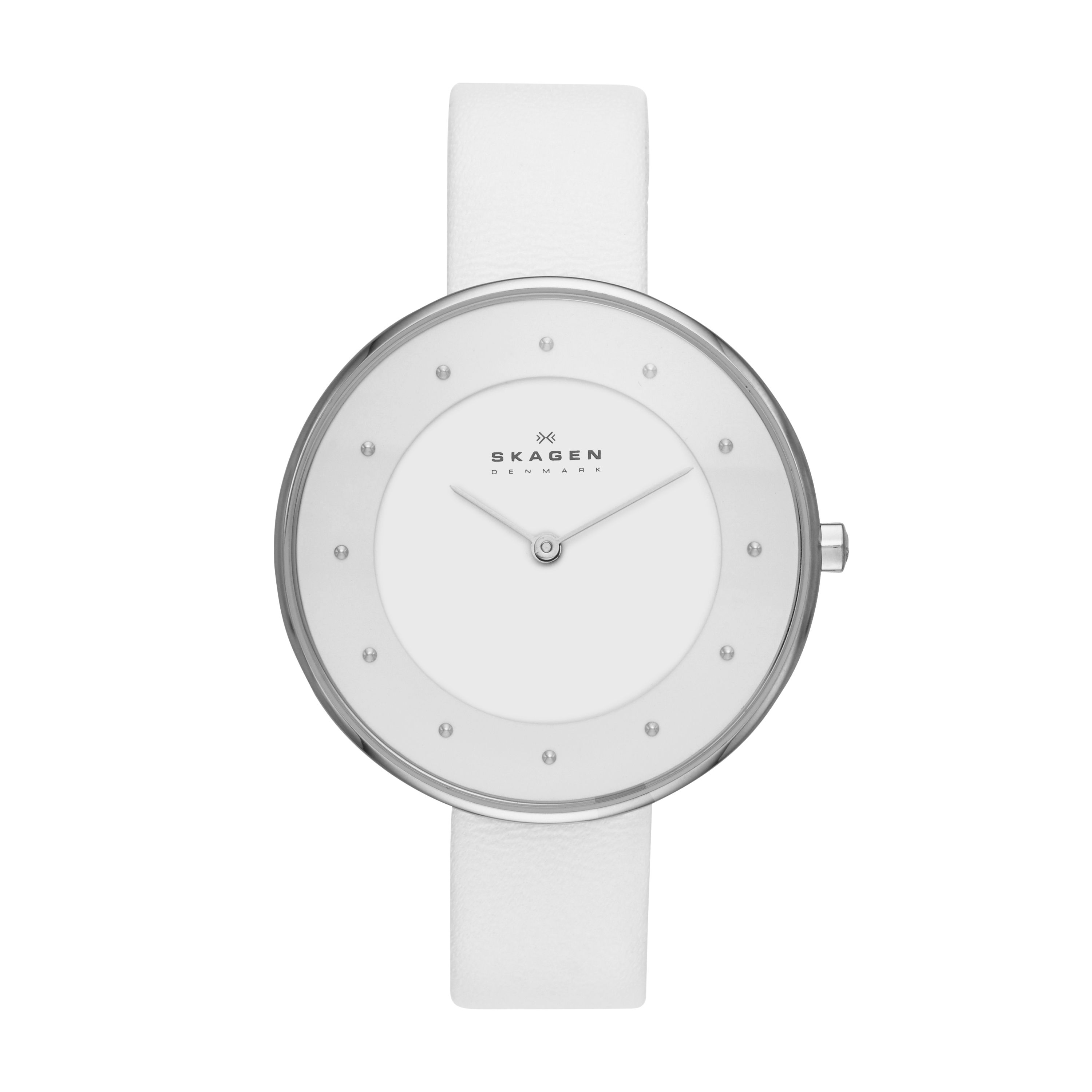 SKW2136 Steel slim silver white leather watch