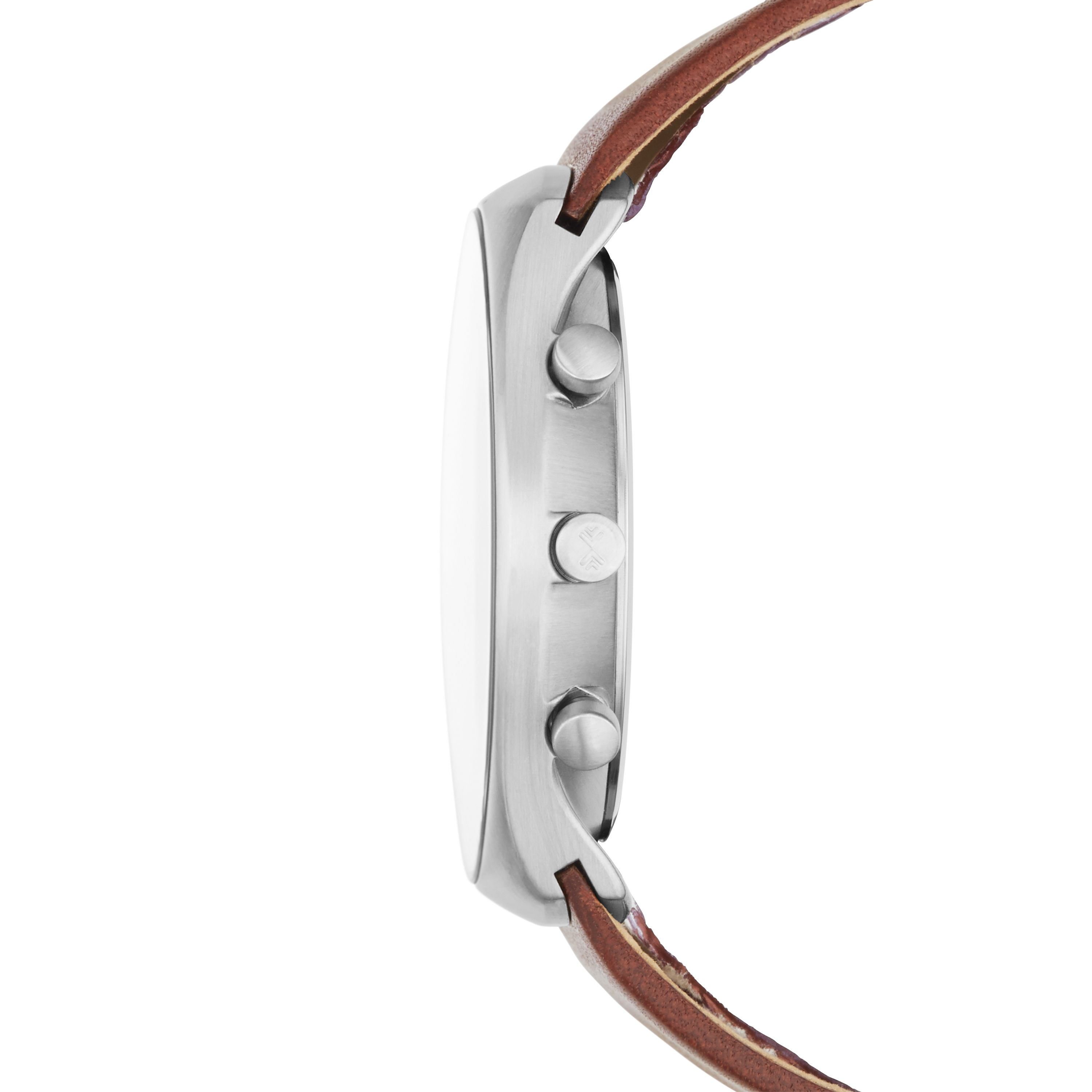 SKW6085 Steel slim silver brown leather watch