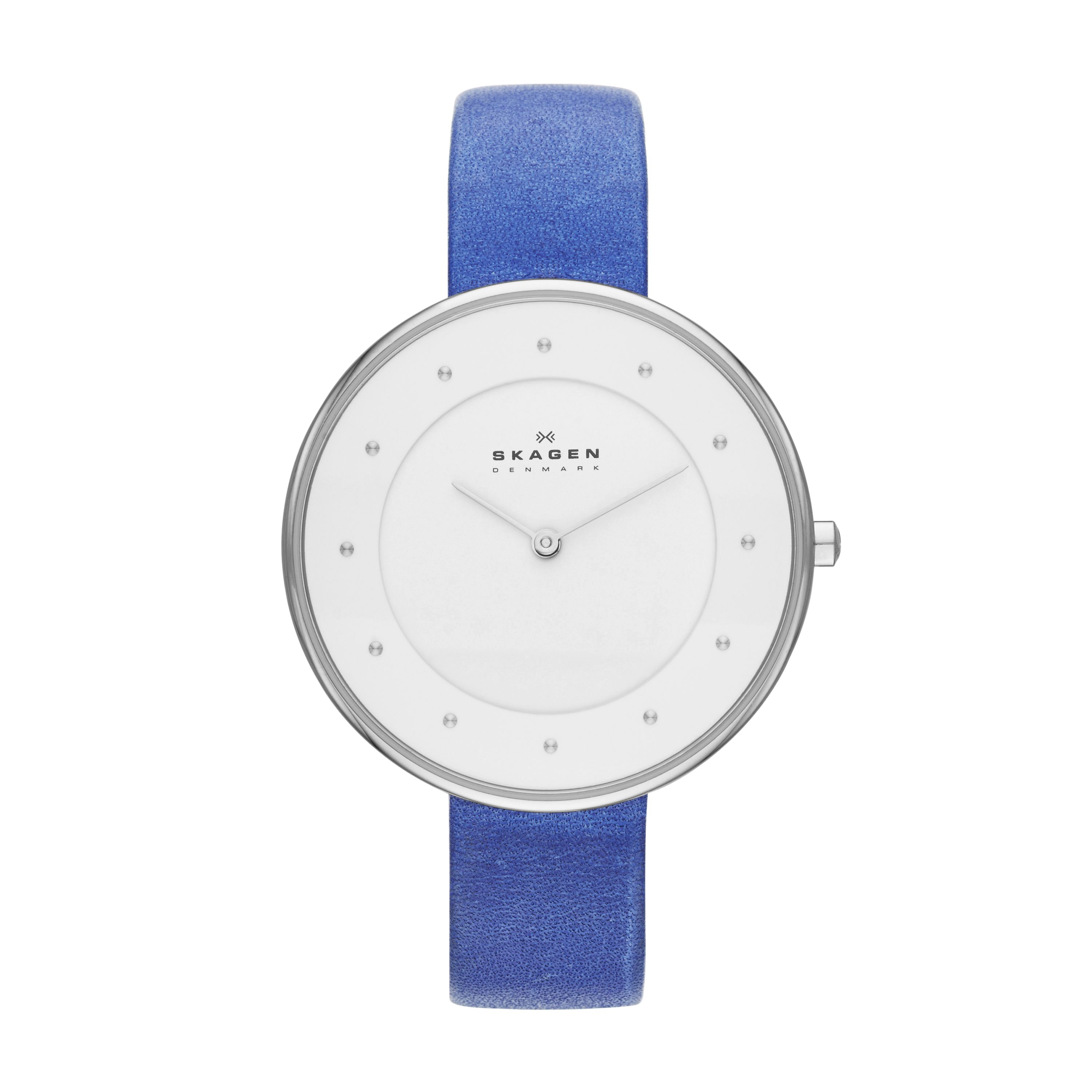 SKW2172 Steel slim silver blue leather watch
