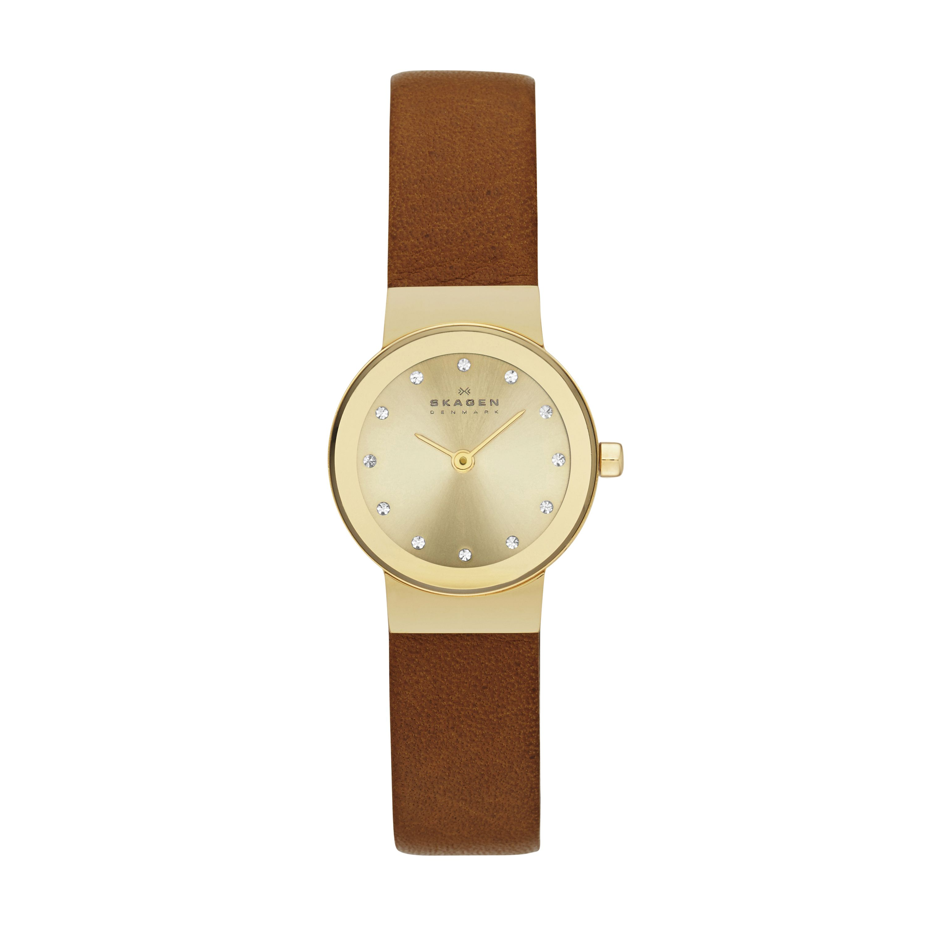 SKW2175 Steel slim gold brown leather watch