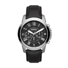 Fossil FS4812 Grant Black Leather Mens Watch