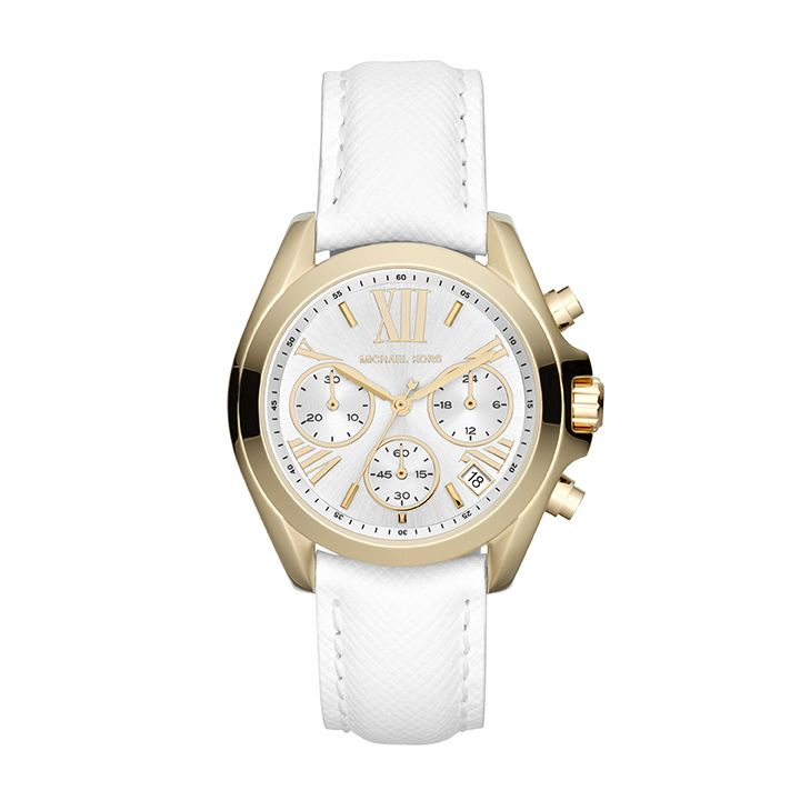 MK2302  white genuine leather ladies watch