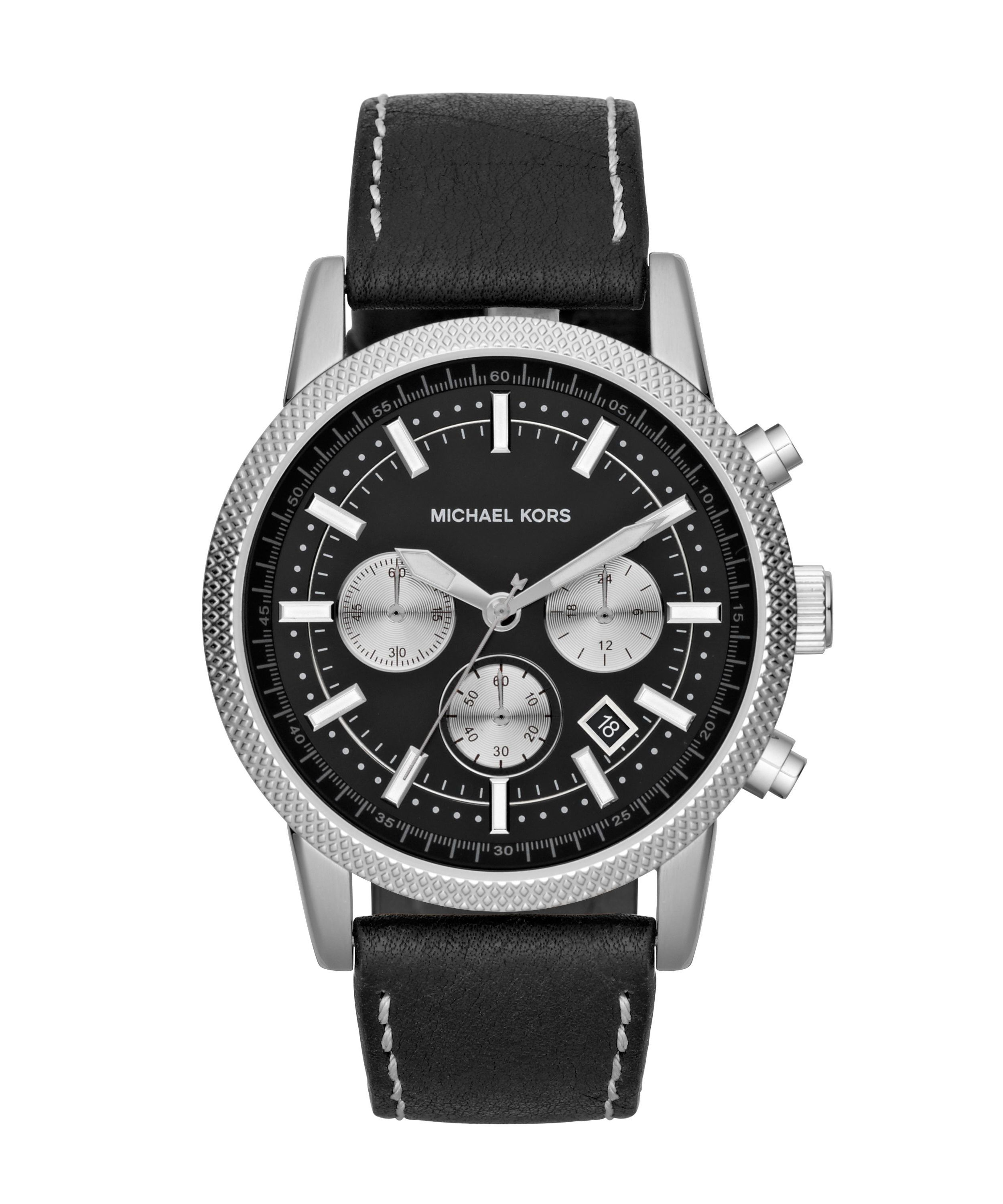 MK8310 Sport black leather mens watch
