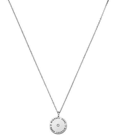 Michael Kors Heritage Silver Logo Pendant Necklace