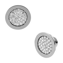 Brilliance Silver Pave Stud Earrings