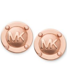 Michael Kors Heritage Rose Gold Logo Stud Earrings