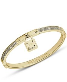 Michael Kors Brilliance Gold Tone Hinge Bangle