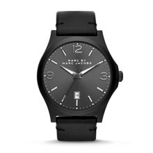 Danny black leather mens watch