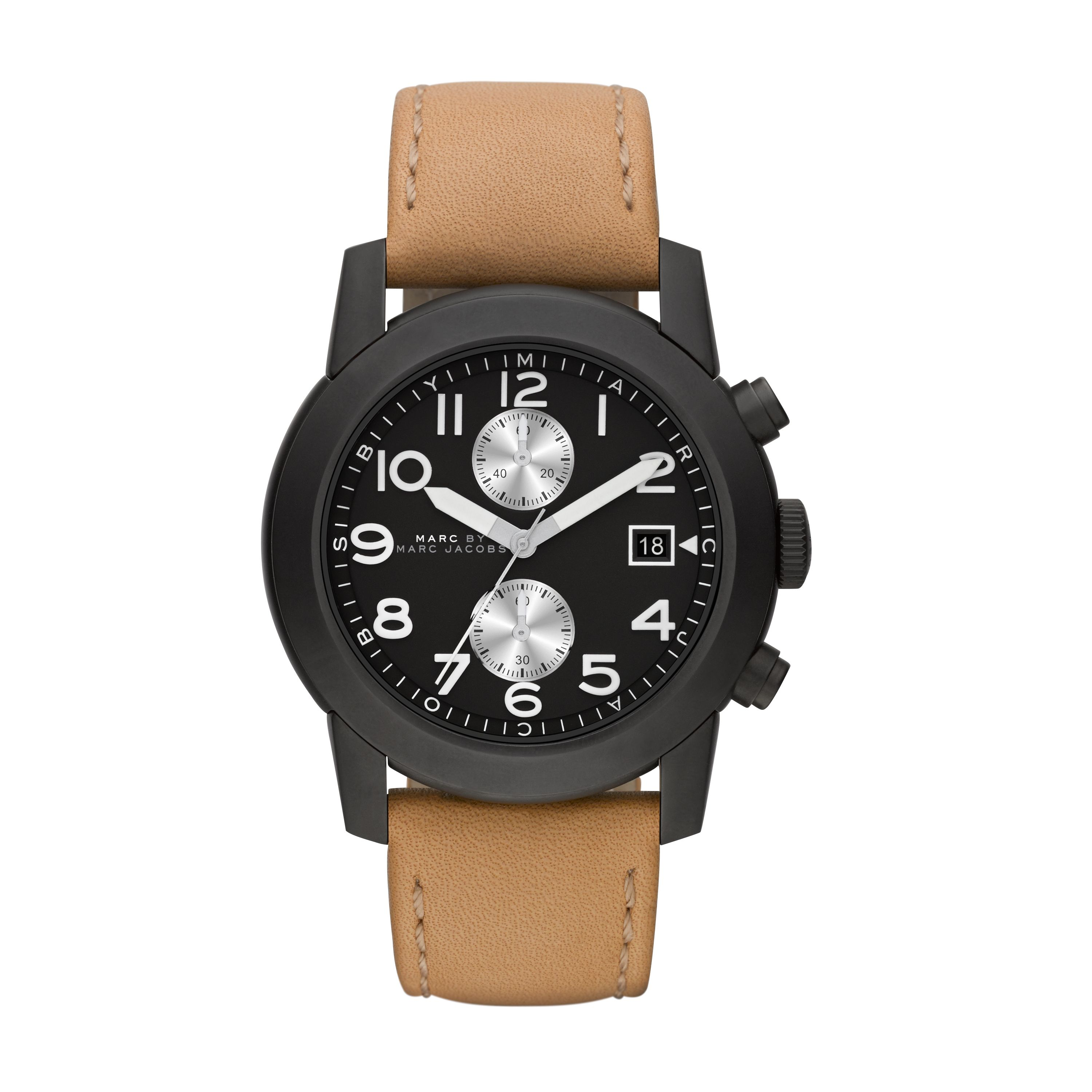 Larry tan leather mens military watch
