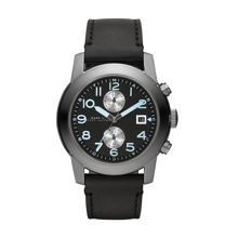 Larry black leather mens military watch