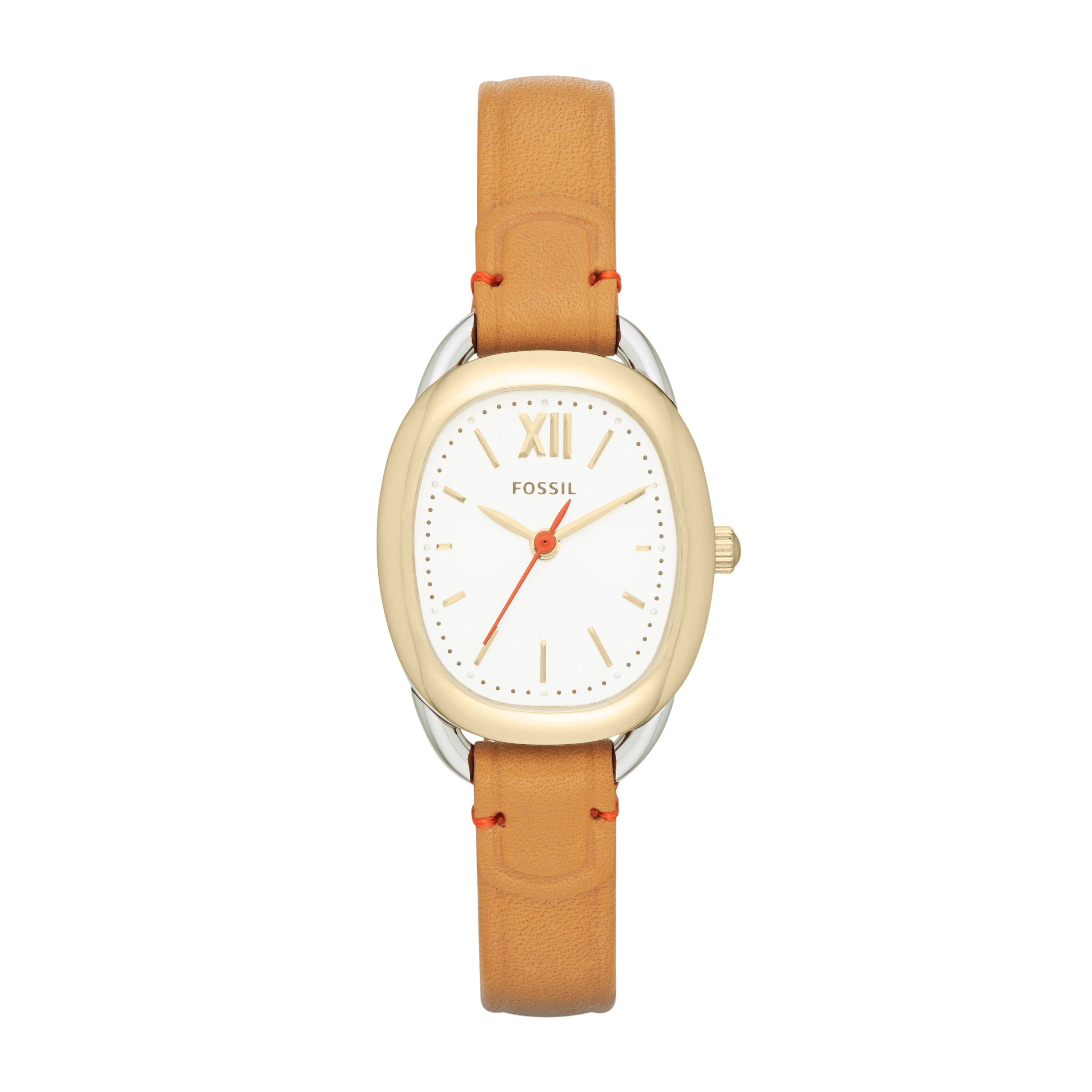 ES3558 Sculptor ladies oval tan leather watch