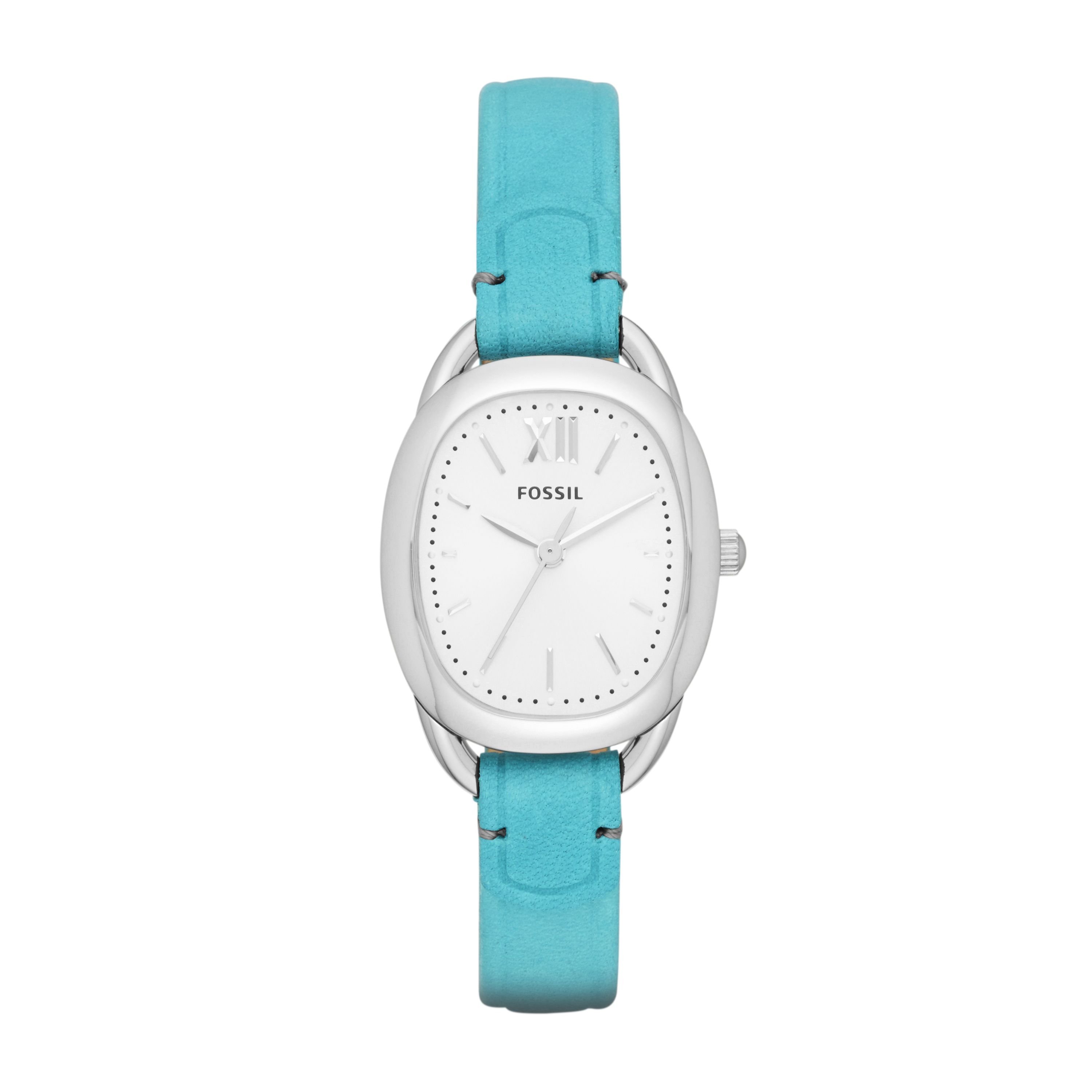 ES3559 Sculptor ladies oval blue leather watch