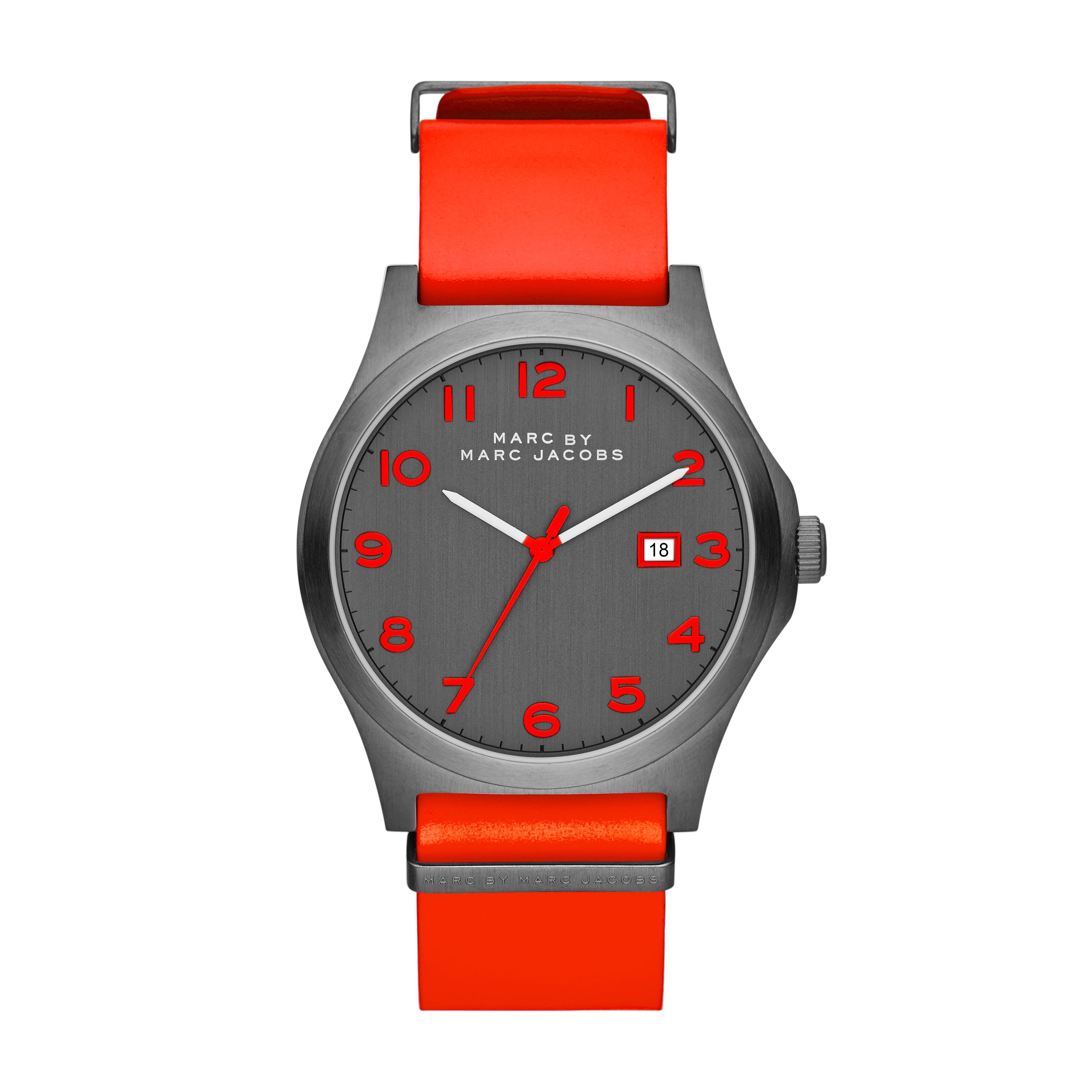 Jimmy red leather mens watch