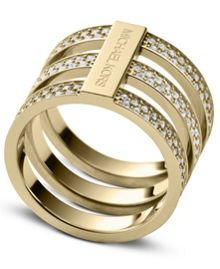 Brilliance Gold Crystal Ring - Ring Size O - M/L
