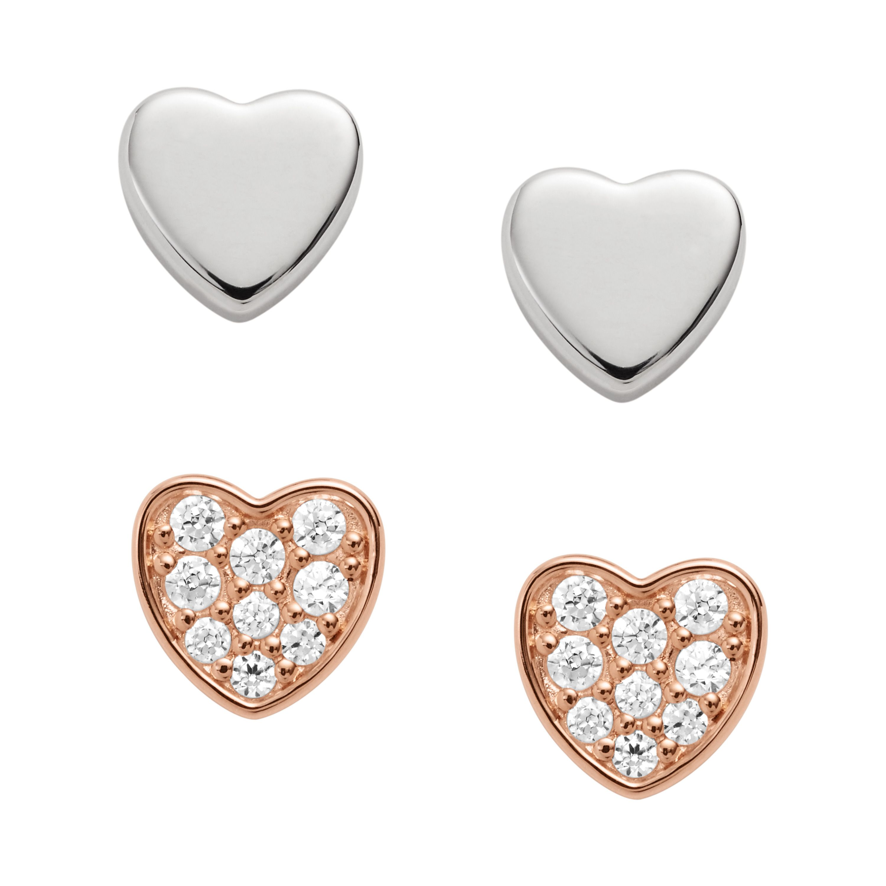 Fossil Duo Heart Two-Tone Sterling Silver Studs, Silver Silverlic