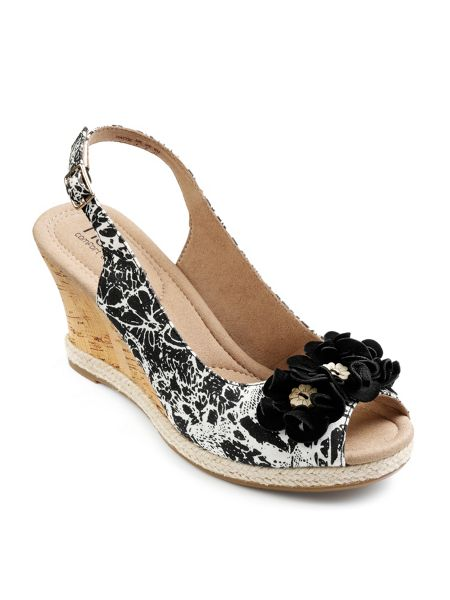 Hotter Padded peep toe wedge with buckle