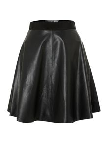 Black Leather Aline Skirt