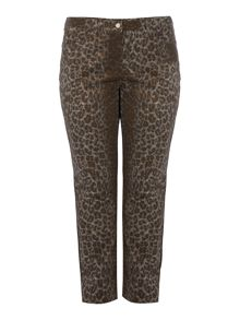 Istinto metallic animal print jeans