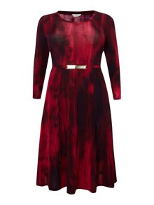 Ombrato 3/4 sleeved waterfall print dress