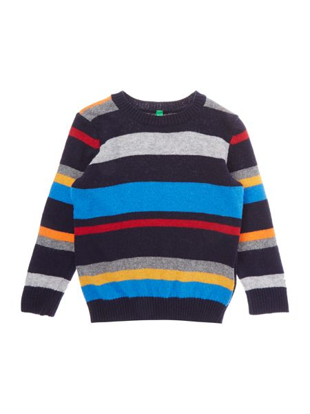 Benetton Boys Long Sleeved Multi Stripe Sweater Navy  House of Fraser