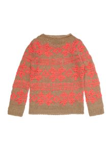 Benetton Girls Long Sleeve Fairisle Jumper