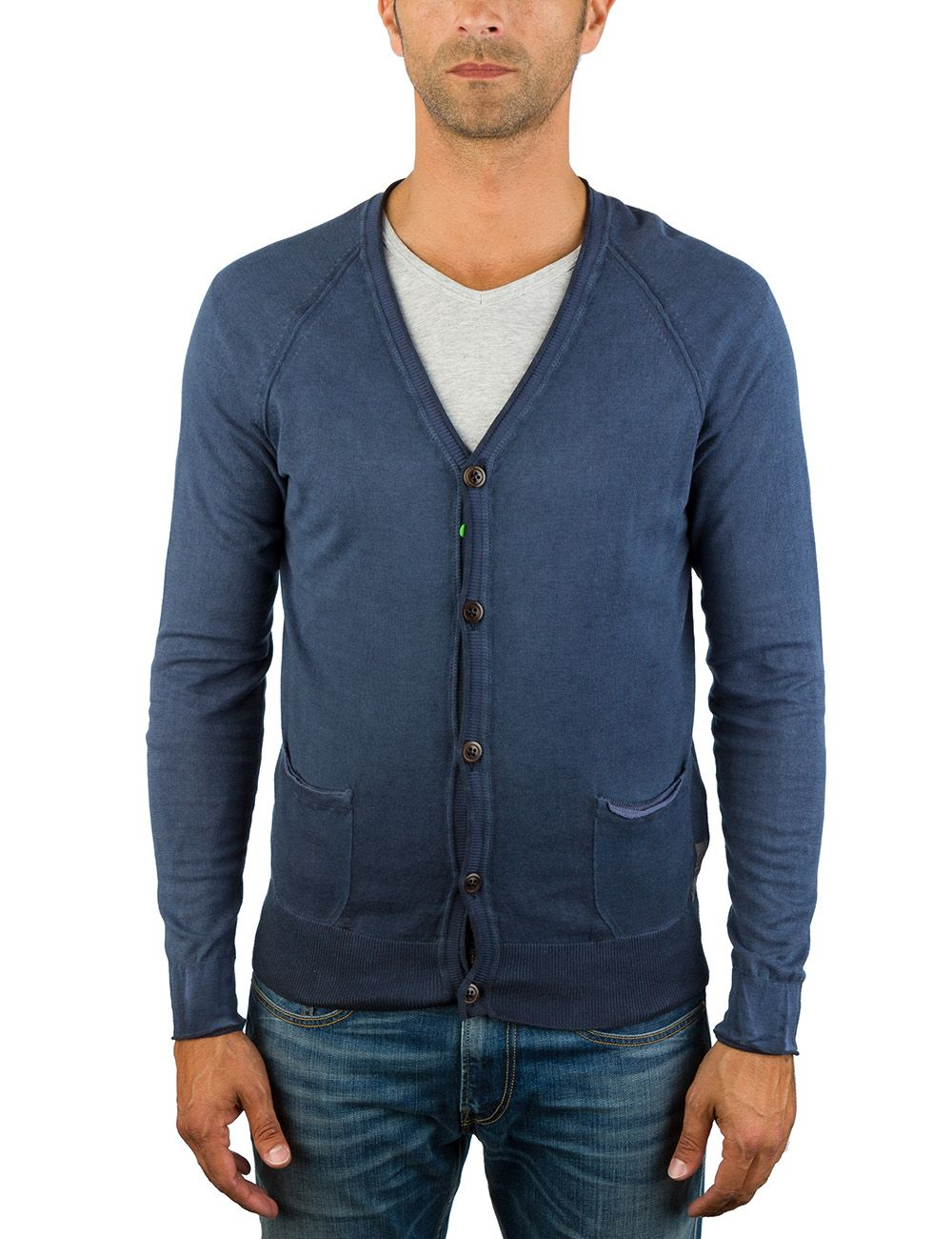 Cotton cardigan with two pockets
