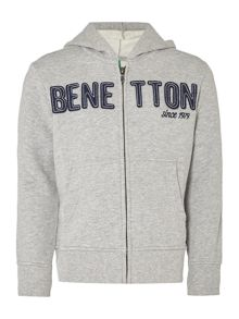 Benetton Boys Long Sleeve Logo Zip Thru Sweater