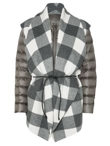 Max Mara Nerbare collarless puffer with check cape overlay