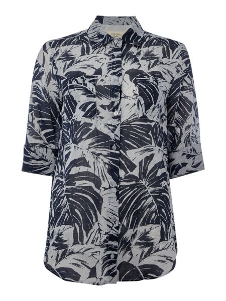 Max Mara Spider three quarter sleeve leaf print shirt