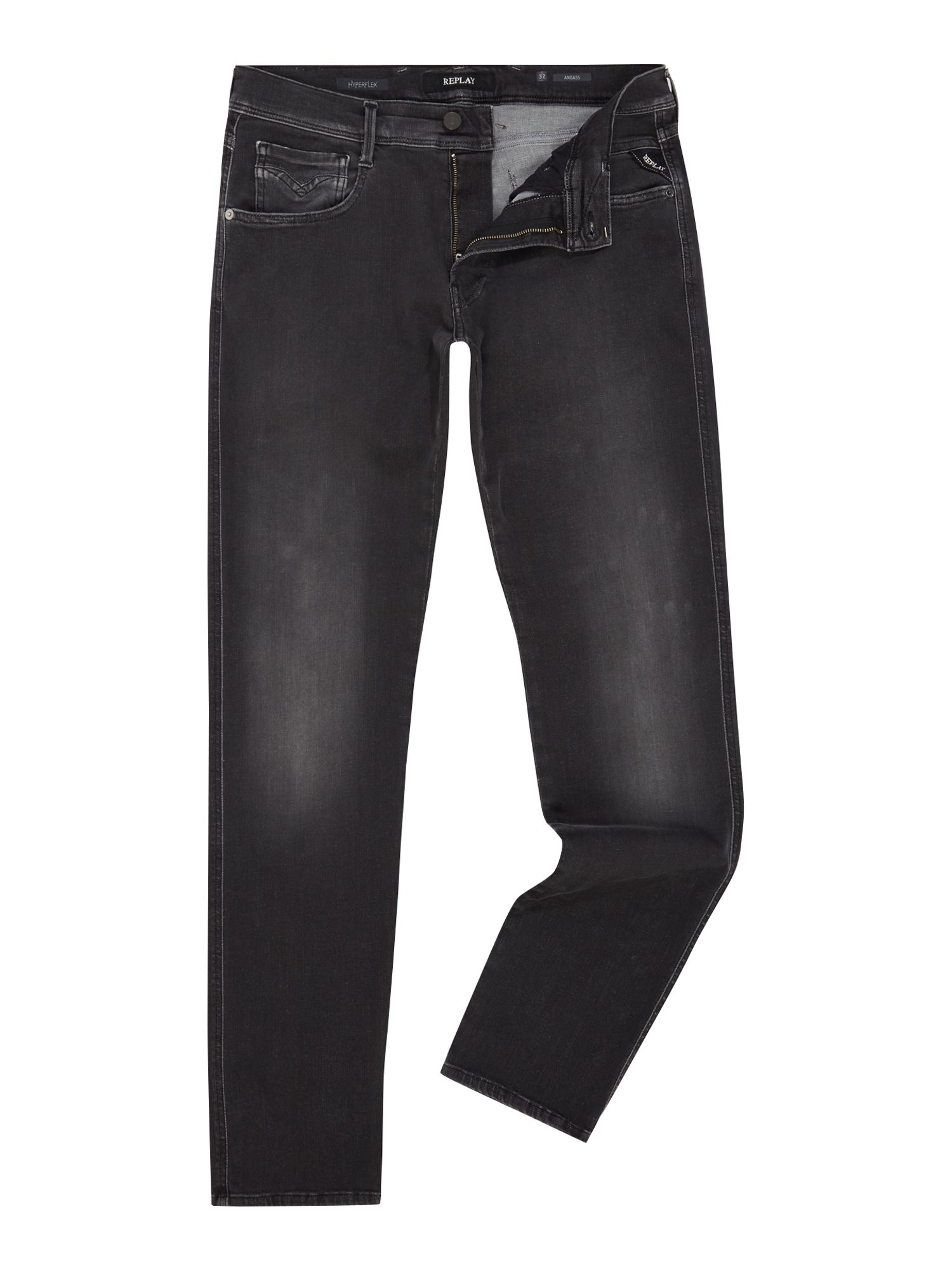 Mens Anbass Slim Fit Jeans, Nearly Black