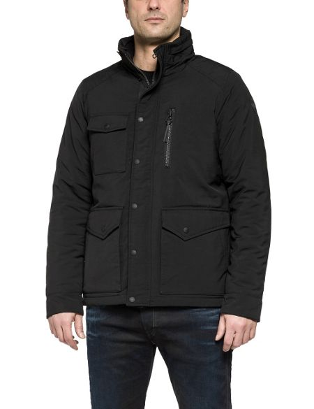 Replay Micro-oxford high-neck jacket