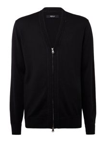 Replay Zip-front wool and cotton cardigan