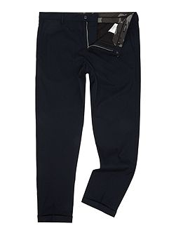 Tapered-fit wool blend trousers
