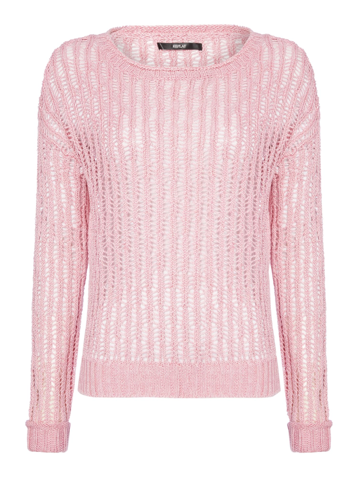 Replay Perforated pure linen jumper Pink