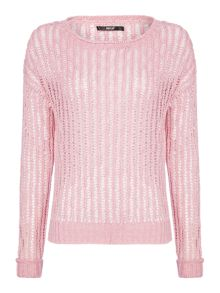 Replay Perforated pure linen jumper