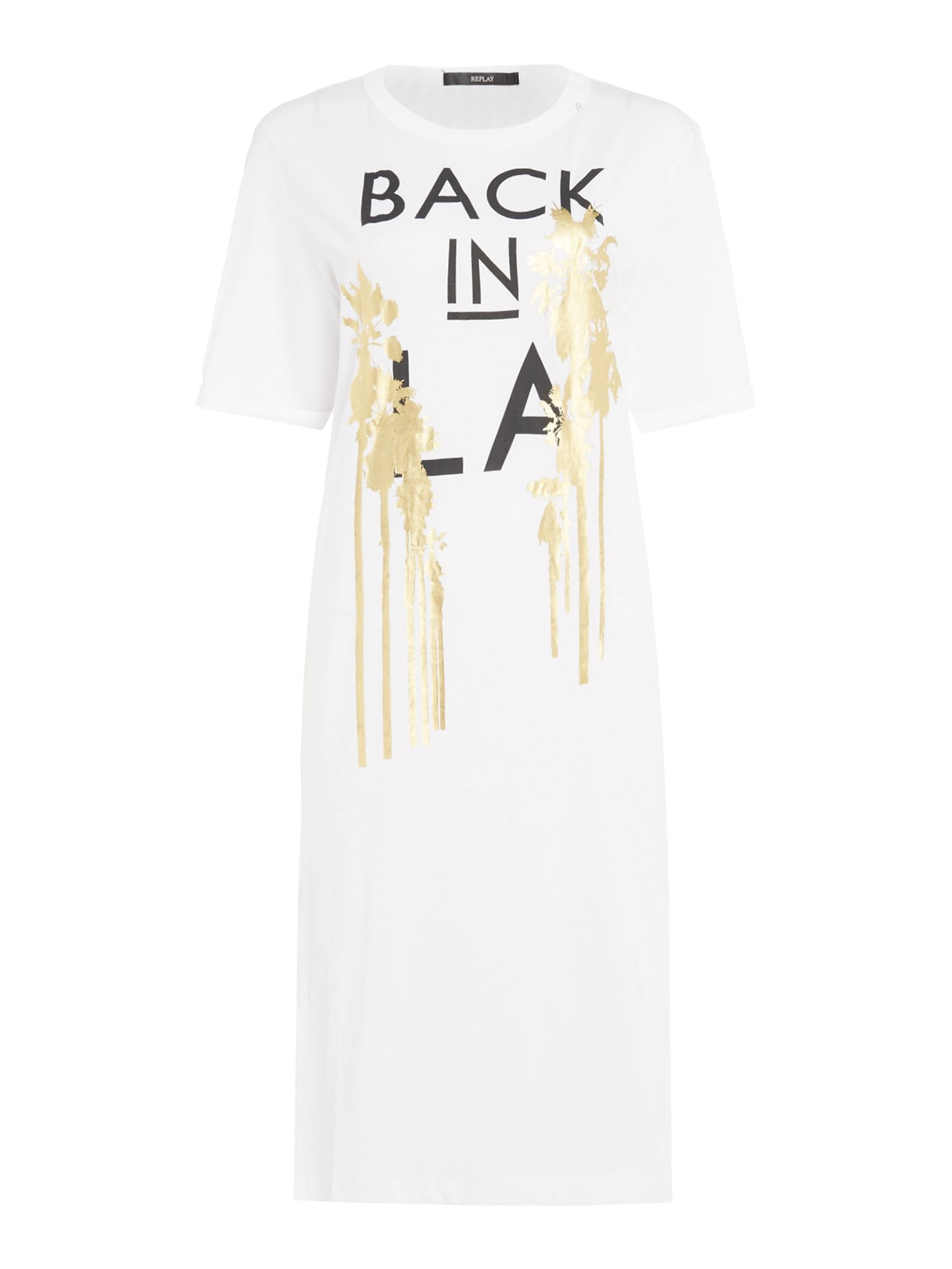 Replay Gold and letter-print dress, White