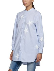 Replay Star-print longline shirt