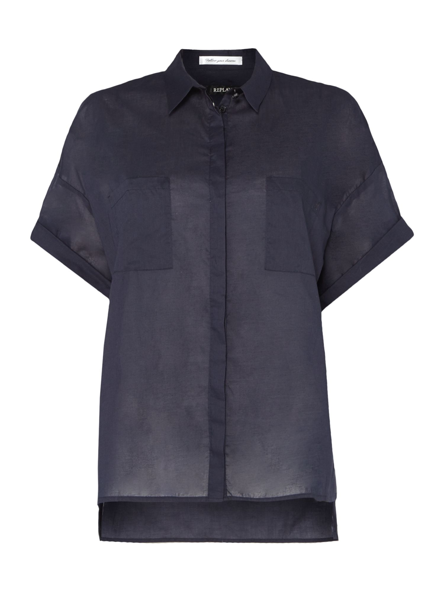 Replay Short-sleeve muslin shirt, Blue