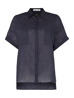 Short-sleeve muslin shirt